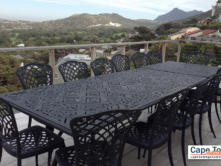 Outside seating area overlooking the mountain