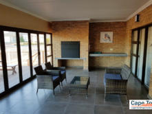Outdoor fireplace with seating