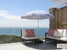 Seating outside with sea views